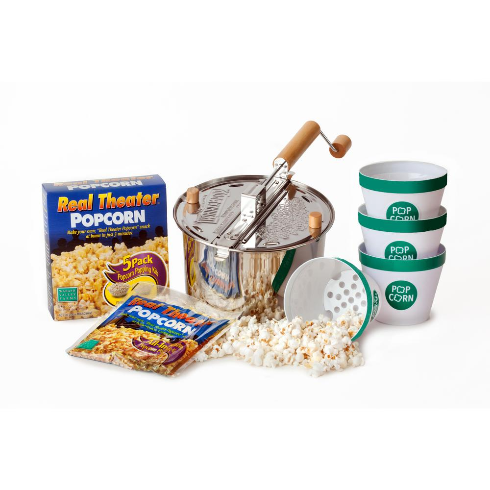 Wabash Valley Farms Whirley-Pop 10-Piece Stainless Steel Stovetop Popcorn Popper Set with Serving Bowls The 10-pc. Whirley-Pop Stainless Steel Starter Set makes at home popcorn easy. The induction compatible popper also works on gas and electric stove tops. It comes with everything you need for popcorn night, including popping kits and bowls.