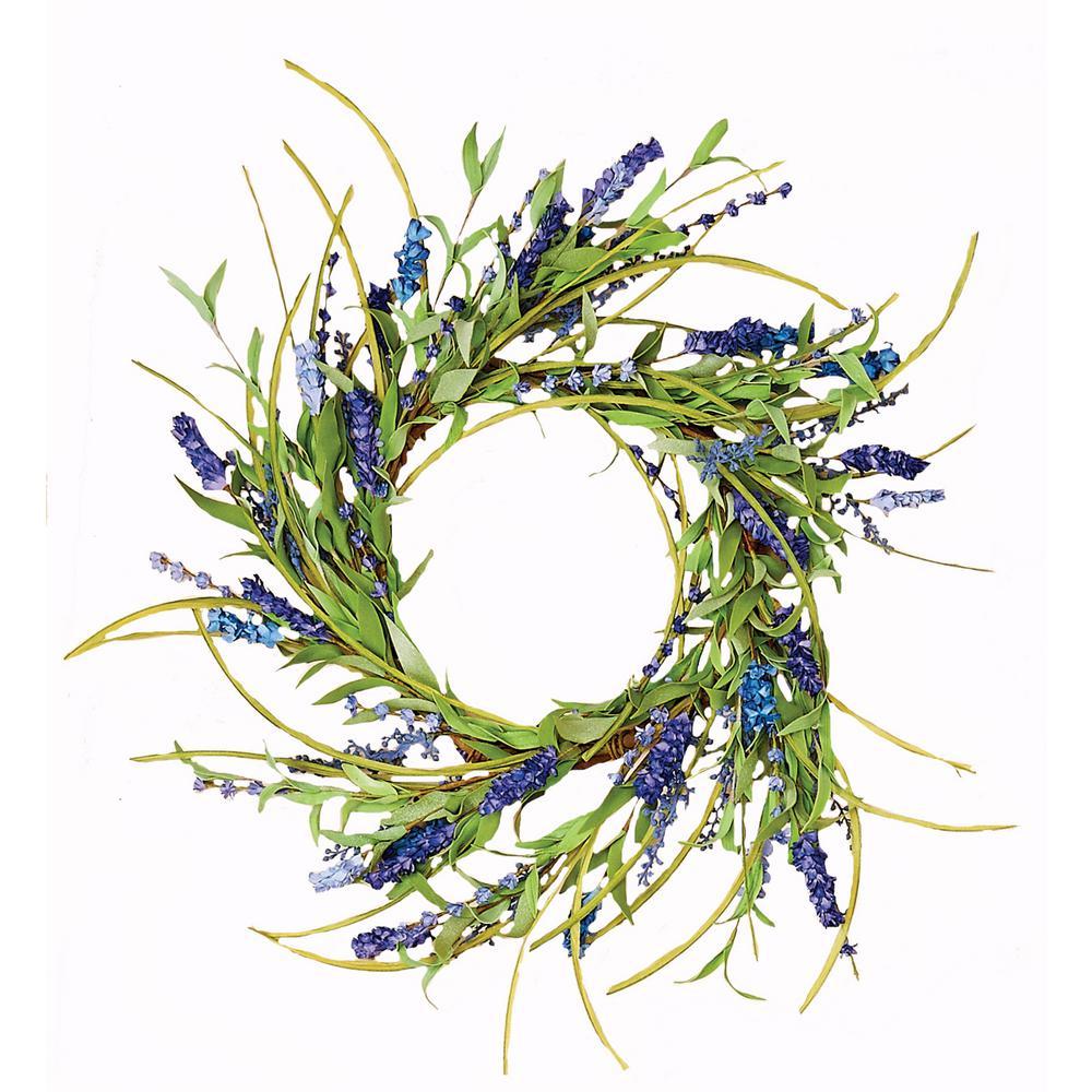18 in. Blue Spike Wreath