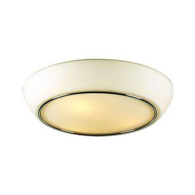 2-Light Ceiling Polished Chrome Flush Mount with Matte Opal Glass