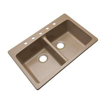 Waterbrook Dual Mount Composite Granite 33 in. 5-Hole Double Bowl Kitchen Sink in Beige