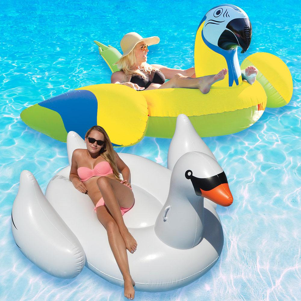 Margaritaville Yellow Parrot Head and Giant White Swan Swimming Pool Float