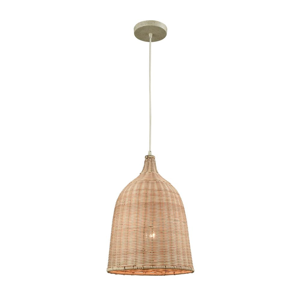 Titan Lighting Pleasant Fields 1-Light Russet Beige Hardware and Natural Wicker Shade Pendant