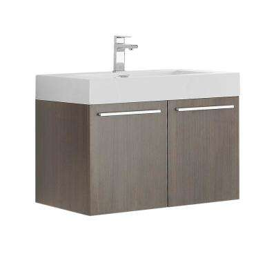 Vista 30 in. Modern Wall Hung Bath Vanity in Gray Oak with Vanity Top in White with White Basin