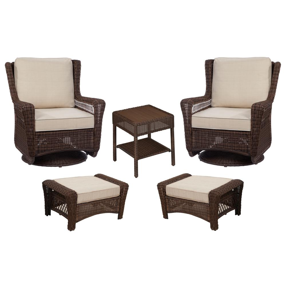 Hampton Bay Park Meadows Brown 5 Piece Wicker Patio