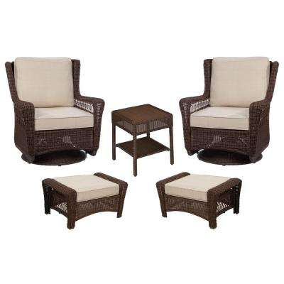 Park Meadows Brown 5-Piece Wicker Patio Conversation Set with Beige Cushions
