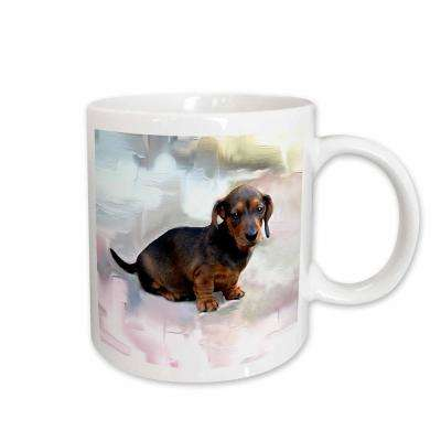 Dogs 11 oz. White Ceramic Miniature Dachshund Mug
