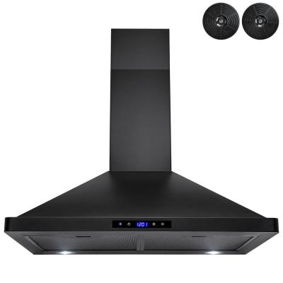 30 in. Convertible Kitchen Wall Mount Range Hood with Lights in Stainless Steel with Black Painted Stainless Steel
