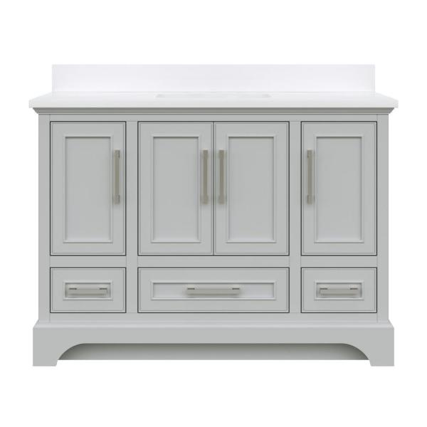 Lareda 48 in. W x 22 in. D Bath Vanity in Light Gray with Engineered Vanity Top in White with White Basin