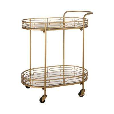 30 in. H Deluxe Metal Oval Mirrored Bar Cart