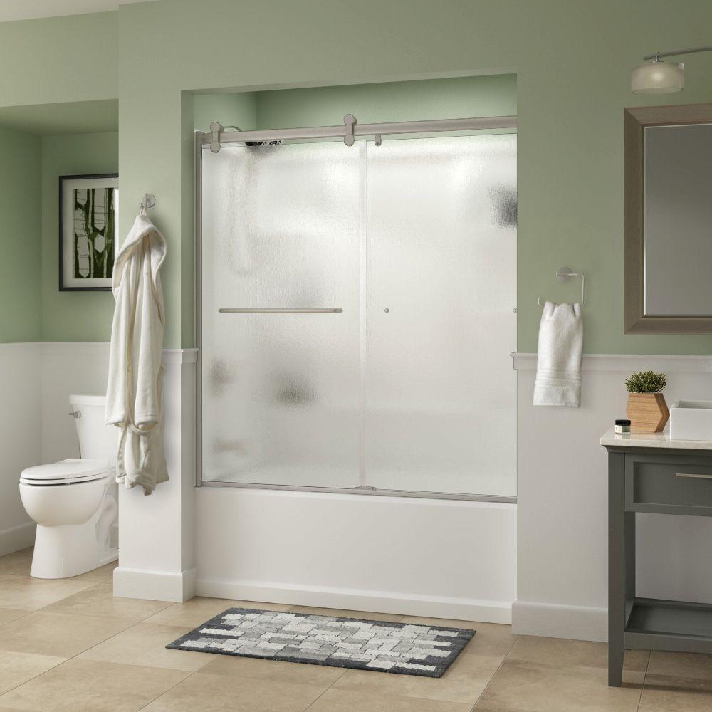 Simplicity 60 in. x 58-3/4 in. Semi-Frameless Contemporary Sliding Bathtub Door in Nickel with Rain Glass