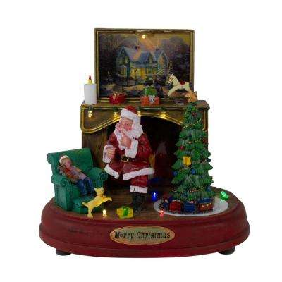 8.5 in. LED Animated Musical Santa Scene Tabletop Christmas Decoration