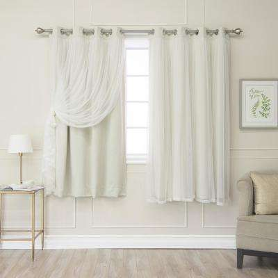 52 in. W x 63 in. L Ivory Marry Me Lace Overlay Blackout Curtain Panel  (2-Pack)
