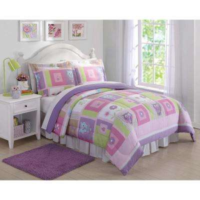 Happy Owls Pink Twin Comforter and Sham