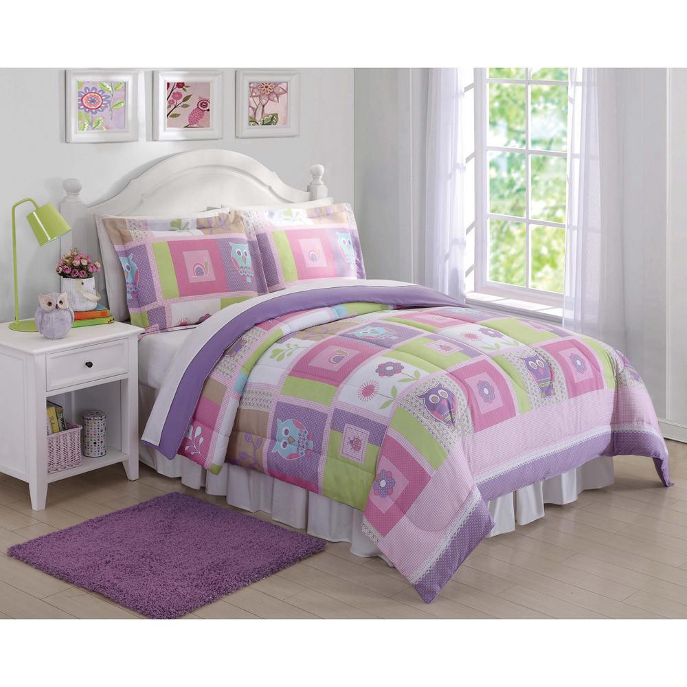 Happy Owls Pink Queen Comforter with Shams