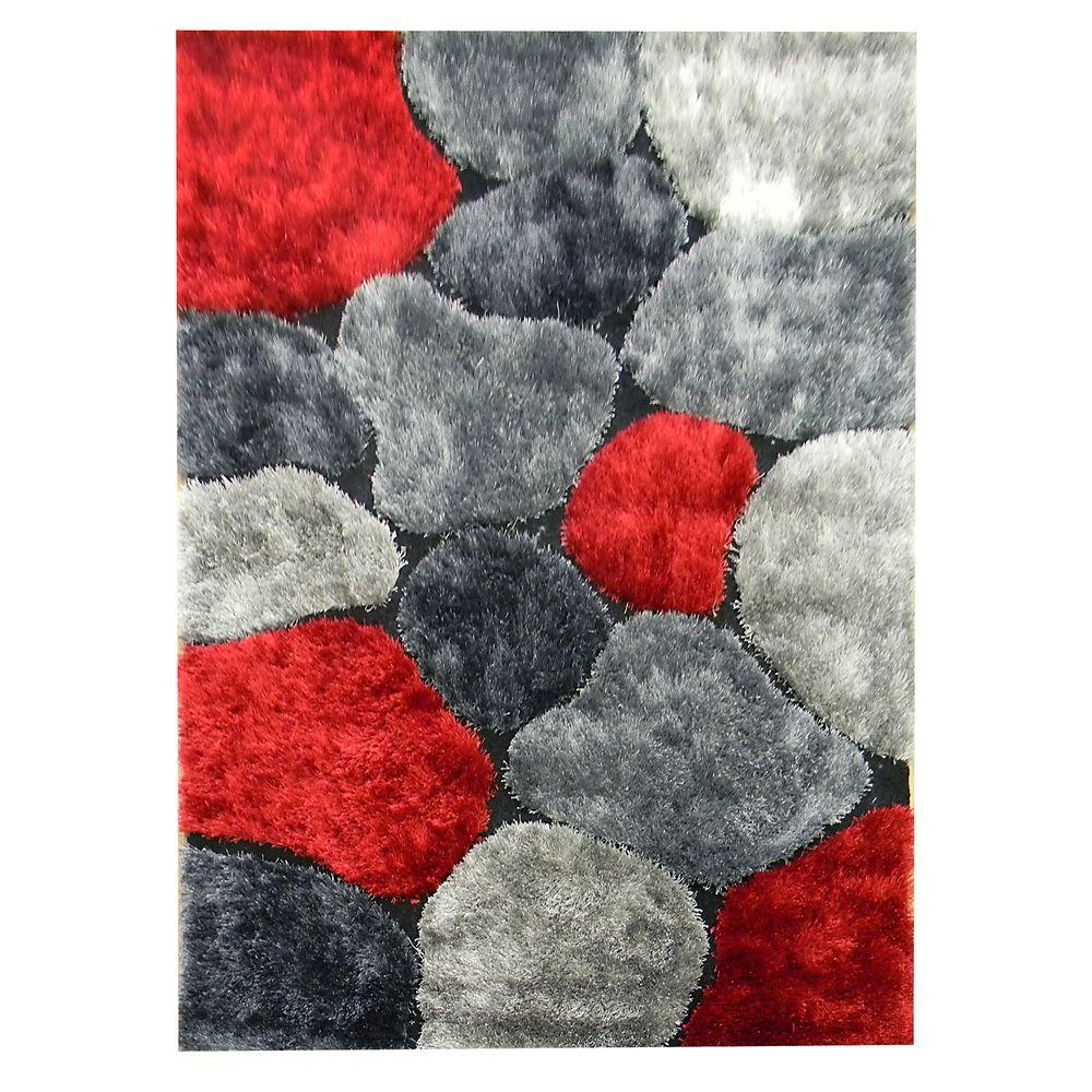 DonnieAnn Flash Shaggy Abstract Color Block Design Red 4 ft. 11 in. x 6 ft. 10 in. Indoor Area Rug
