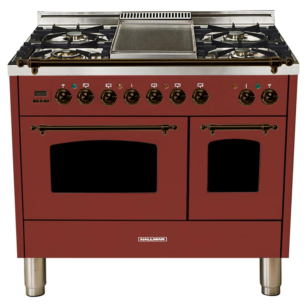 Hallman 40 in. 4.0 cu. ft. Double Oven Dual Fuel Italian Range with True Convection, 5 Burners, Griddle, Bronze Trim in Burgundy