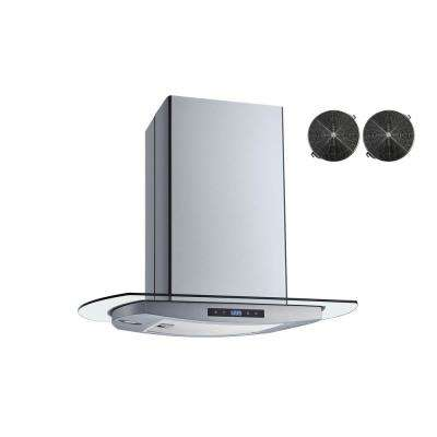 30 in. Convertible Island Mount Range Hood in Stainless Steel and Glass with Touch Control and Carbon Filters