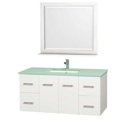 Centra 48 in. Vanity in White with Glass Vanity Top in Aqua and Square Porcelain Undermounted Sink and Mirror
