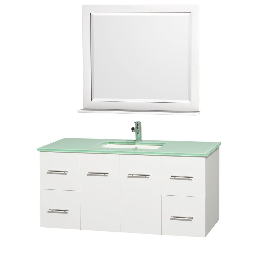 Wyndham Collection Centra 48 in. Vanity in White with Glass Vanity Top in Aqua and Square Porcelain Undermounted Sink and Mirror