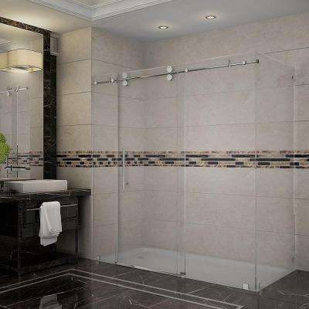 Langham 72 in. x 33.8125 in. x 75 in. Completely Frameless Sliding Shower Enclosure in Stainless Steel