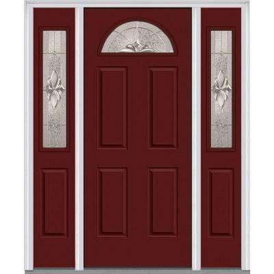 60 in. x 80 in. Heirlooms Right-Hand 1/4-Lite Decorative Painted Fiberglass Smooth Prehung Front Door with Sidelites