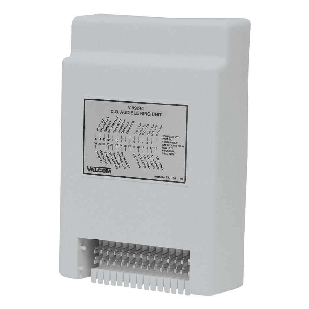 Valcom Audible Ring Unit The Common Audible Ringing Unit provides an audible signal over the paging system when there is an incoming call. It is used between a telephone system and the public address system. The unit also offers variable pitch control.