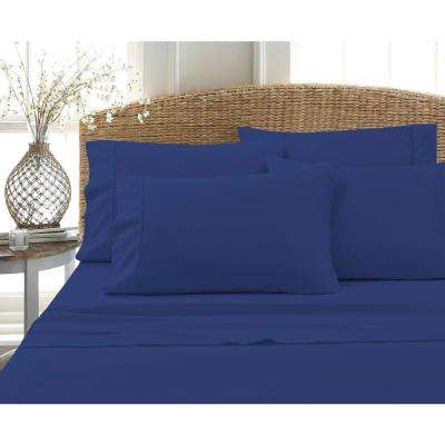 6-Piece Navy Solid Cotton Rich Queen Sheet Set