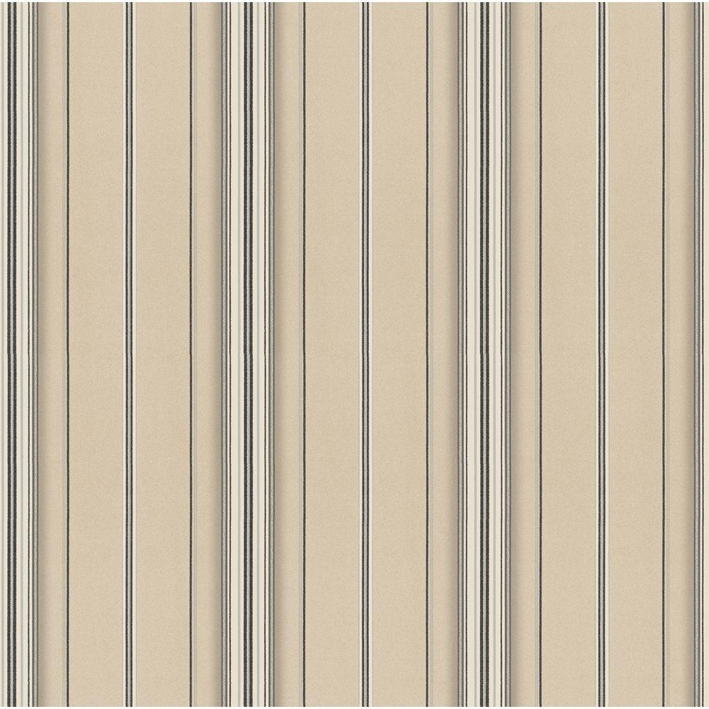 The Wallpaper Company 56 sq. ft. Grey and Beige Twill Stripe Wallpaper