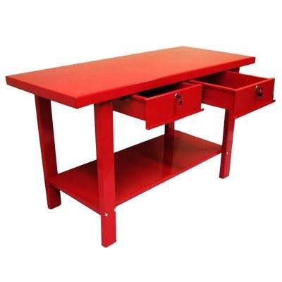 59 in. W x 25.5 in. D x 34 in. H Steel Work Bench in Red
