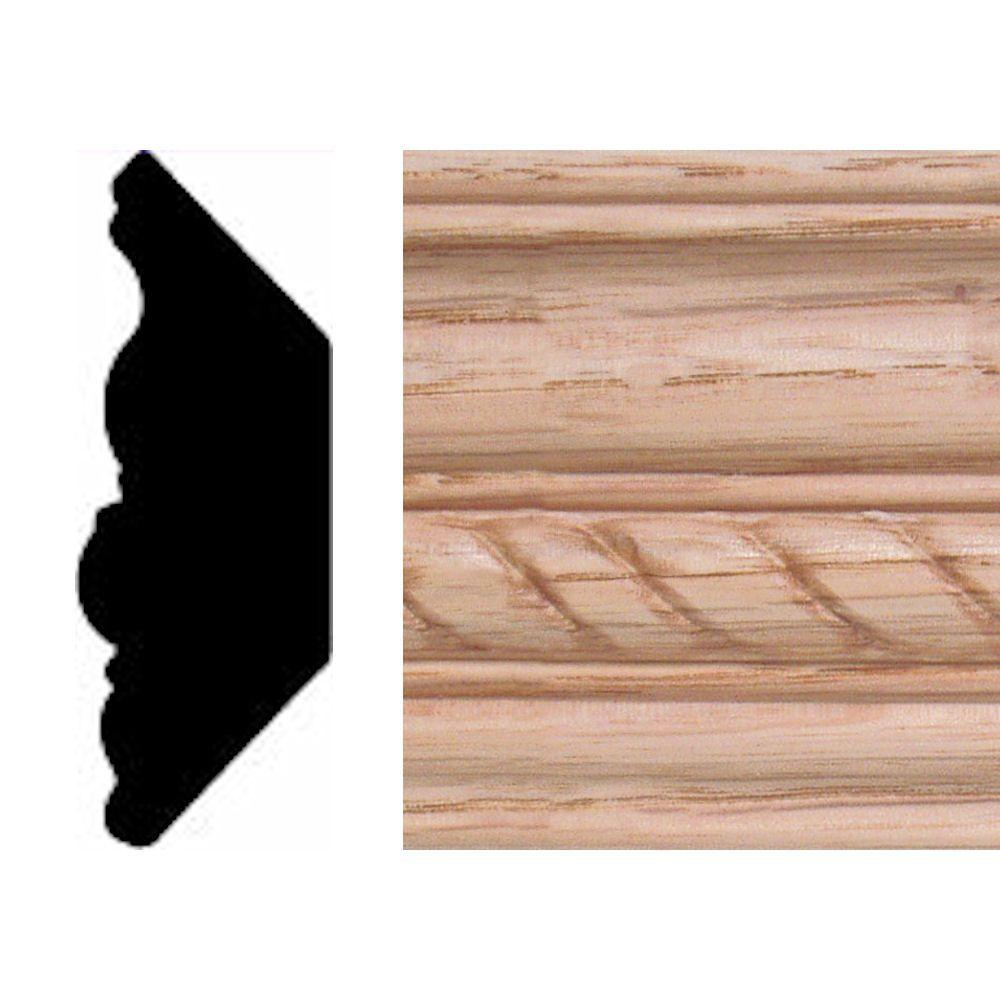 null 13/16 in. x 2-11/32 in. x 8 ft. Oak Emboss Rope Crown Moulding