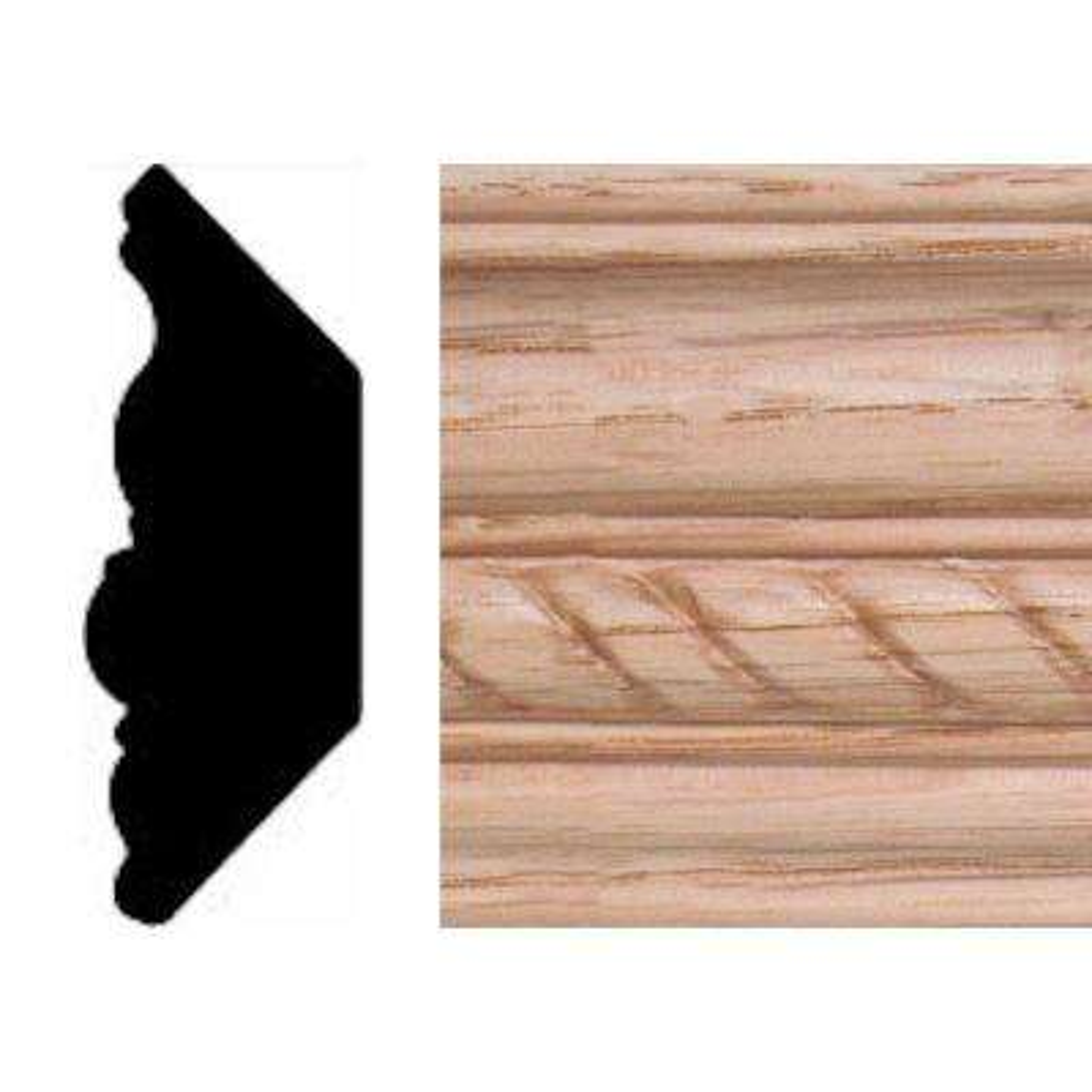 13/16 in. x 2-11/32 in. x 8 ft. Oak Emboss Rope Crown Moulding