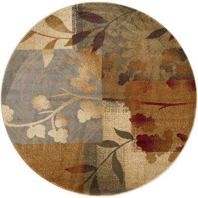 Impressions Blue  5 ft. 3 in. x 5 ft. 3 in. Transitional Round Area Rug