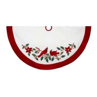 48 in. Velvet Red and White with Cardinals Applique Christmas Tree Skirt