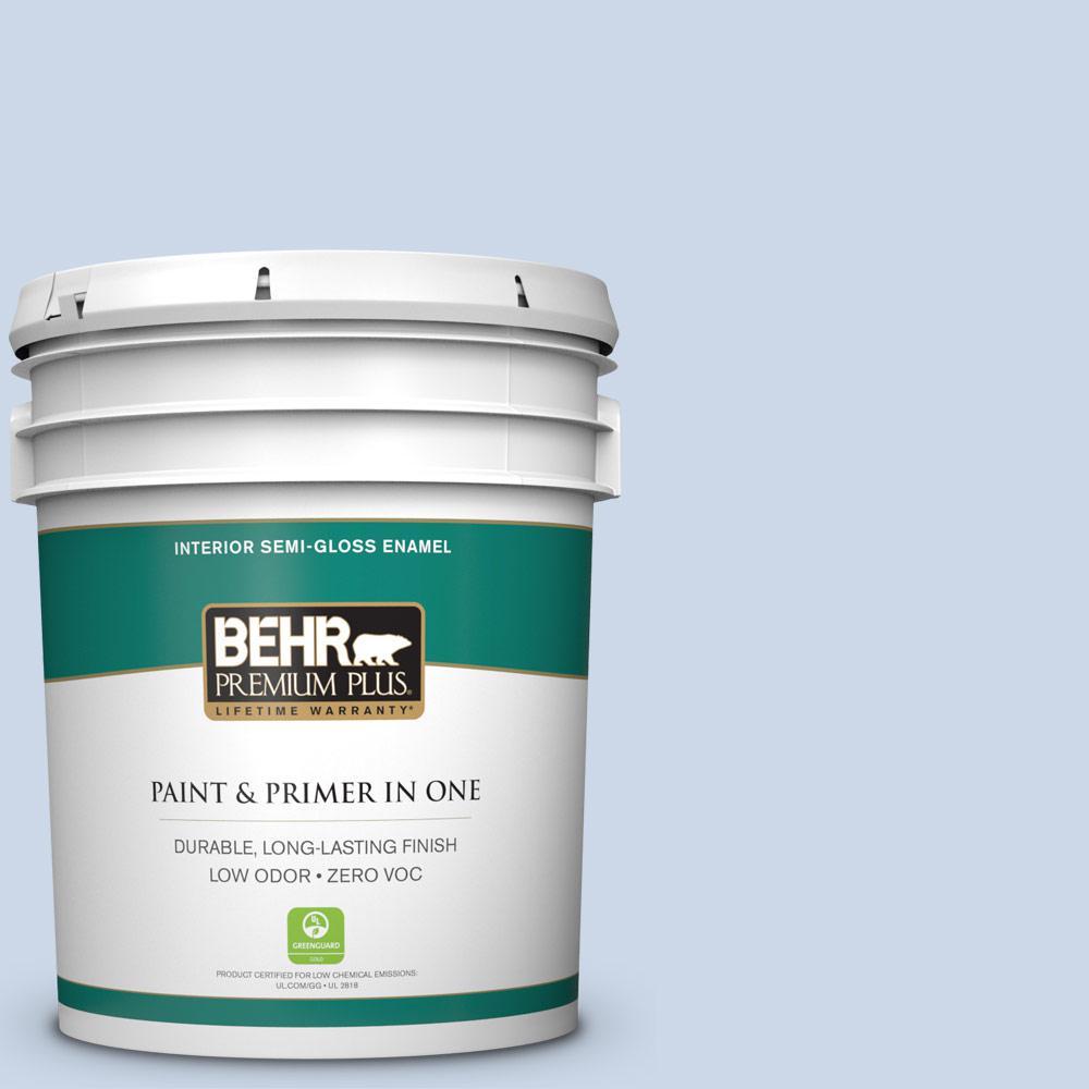 BEHR Premium Plus 5-gal. #590A-2 Monet Lily Zero VOC Semi-Gloss Enamel Interior Paint