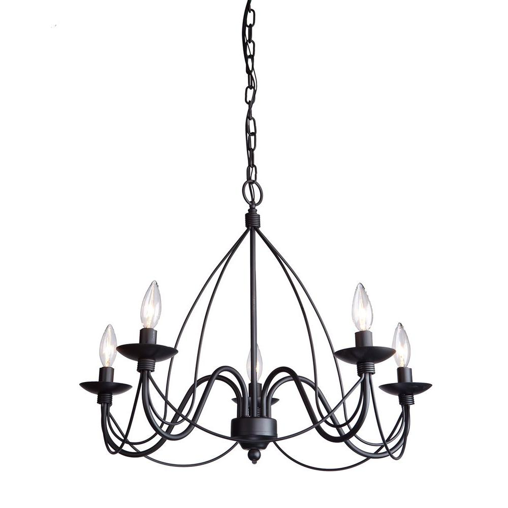 ARTCRAFT Wrought Iron Chasles 5-Light Black Chandelier Yes Its true - Made in North American. This chandelier has forged metal and is painted in black
