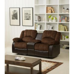 Superb Chocolate Champion And Pu Motion Loveseat 2 Reclining Seats And Console Gmtry Best Dining Table And Chair Ideas Images Gmtryco