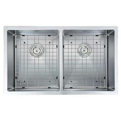 Prestige Series Undermount Stainless Steel 32 in. Double Bowl Kitchen Sink in Satin Finish with Grids & Strainers
