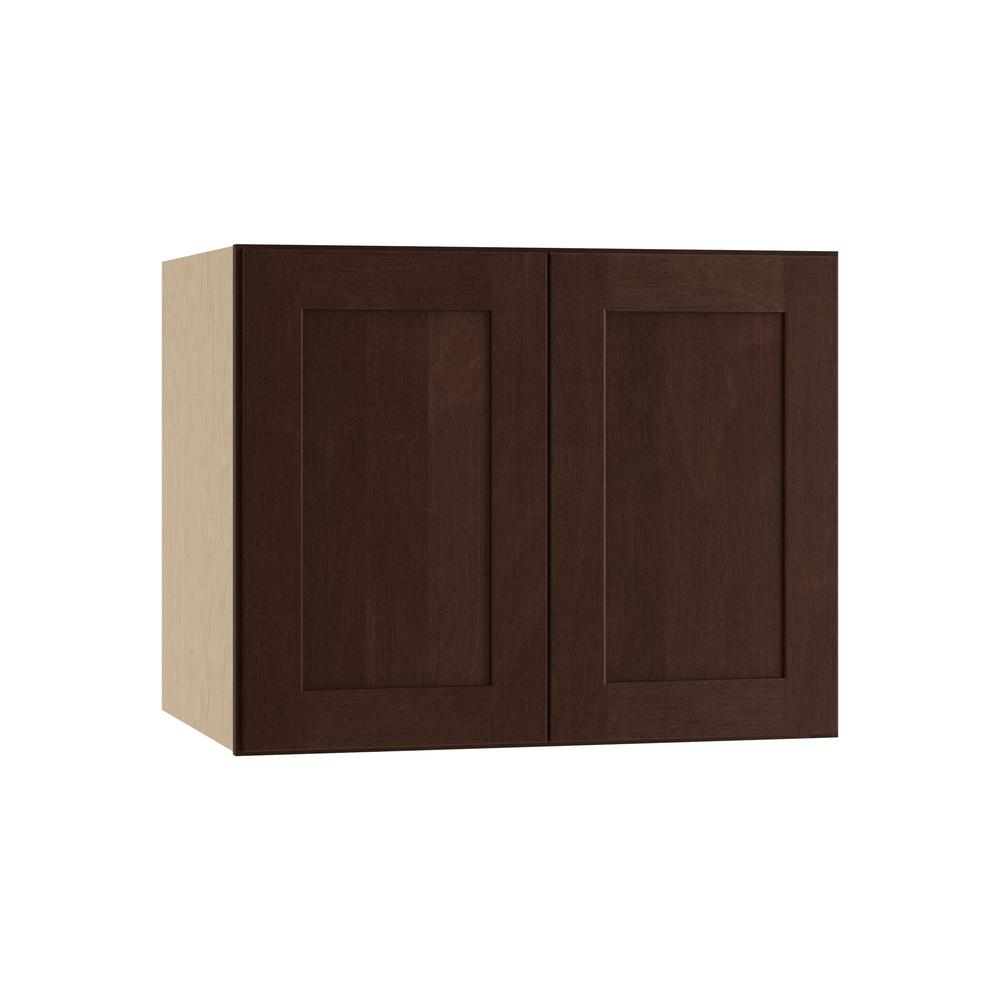 Home Decorators Collection Franklin Embled 30x18x24 In Double Door Wall Kitchen Cabinet Manganite