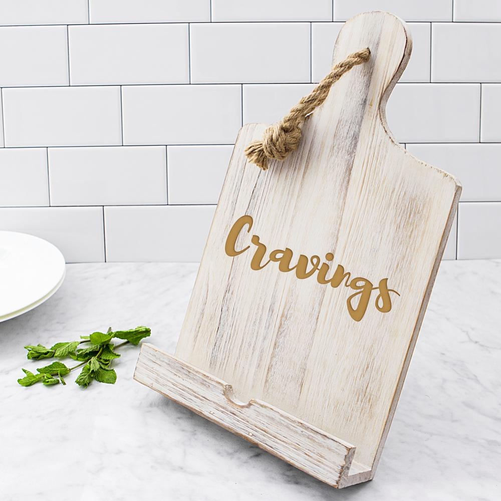 """Cravings"" Rustic Wooden iPad and Recipe Stand"