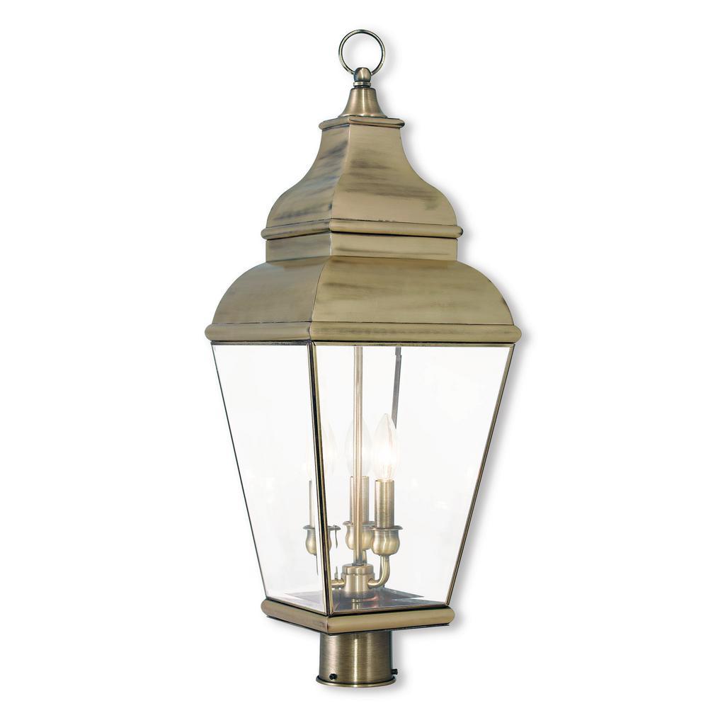 Exeter 3 light outdoor antique brass post light