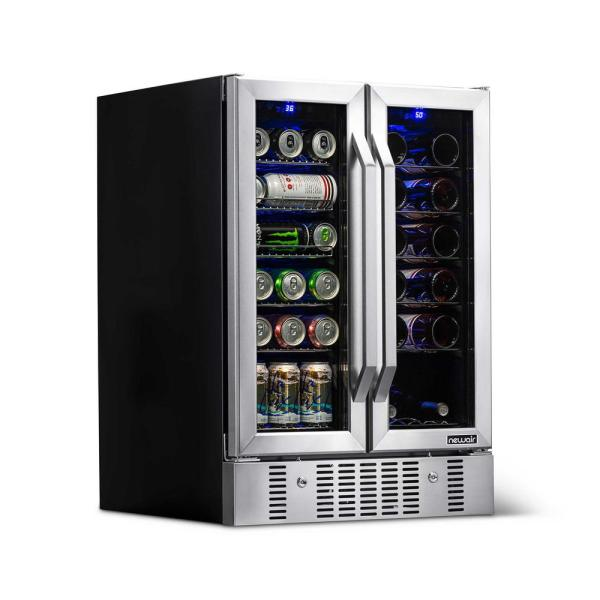Newair Dual Zone 24 In Built In 18 Bottle And 58 Can Wine And Beverage Cooler Fridge With French Doors Stainless Steel Awb 360db The Home Depot