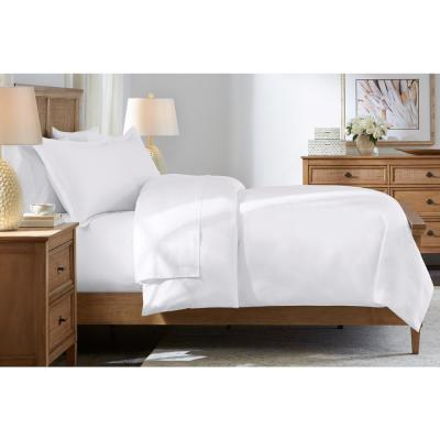 500-Thread Count Egyptian Cotton Sateen 3-Piece King Duvet Cover Set in White