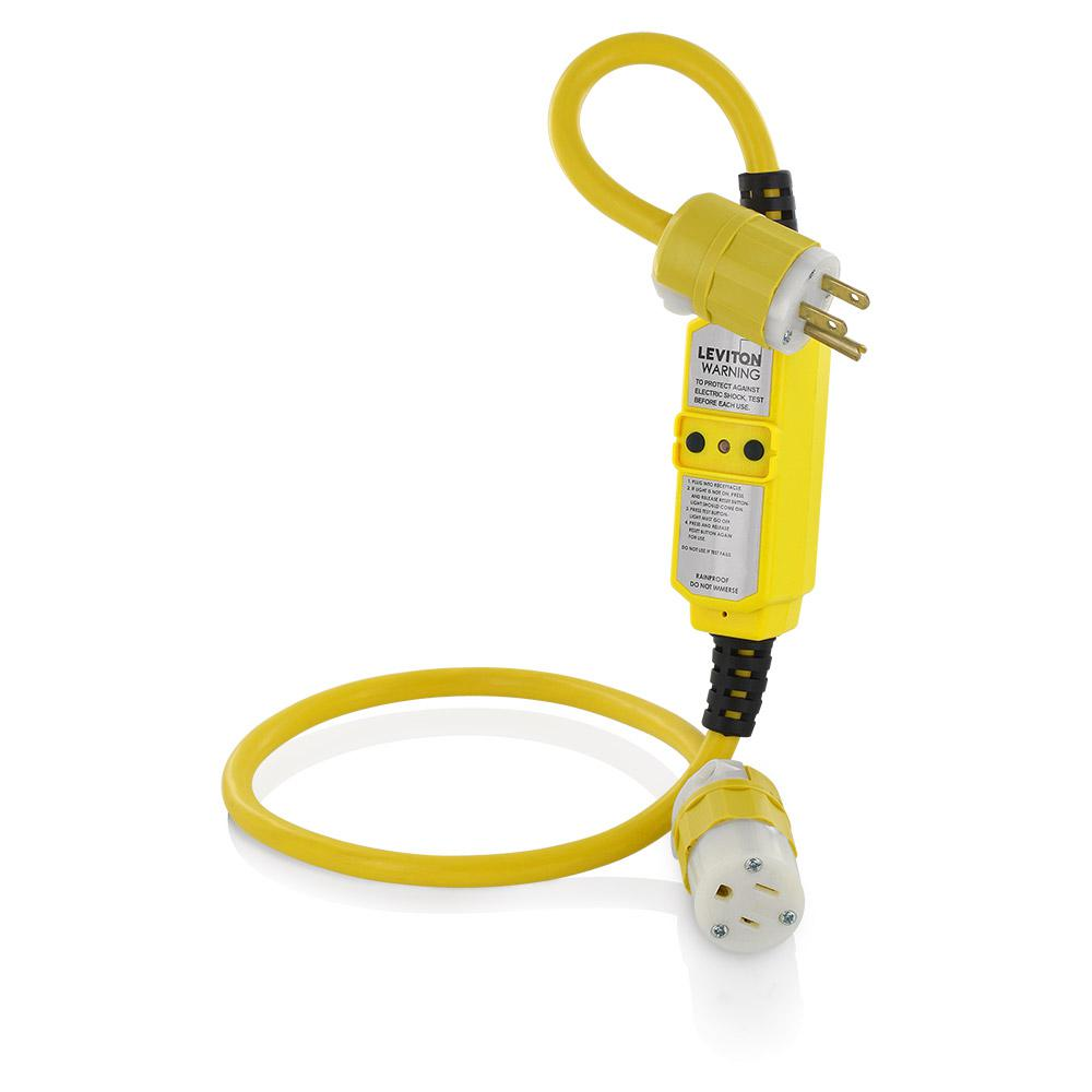 Leviton 15 Amp Portable Gfci With 3 Ft Heavy Duty Cord Set Yellow 20 Breaker What Should Be Used A Or Is Gfm15 3c The Home Depot