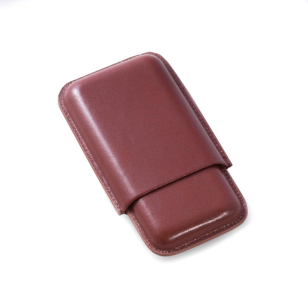 6 in. D x 1 in. H x 3.5 in. W Cedar Cigar Case in Cognac