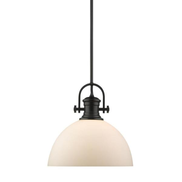 Hines 1-Light Black and Opal Glass Pendant