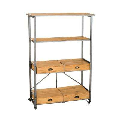 Foldable Gray Metal and Natural Wood Bookcase with Drawers