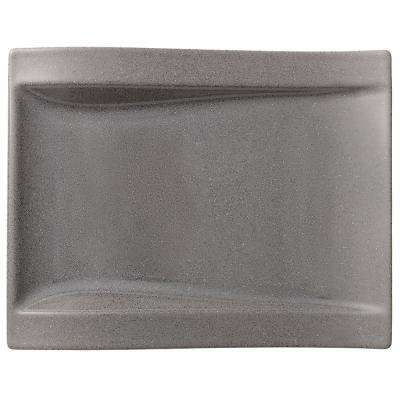 New Wave Gray Stone Large Porcelain Rectangular Salad Plate