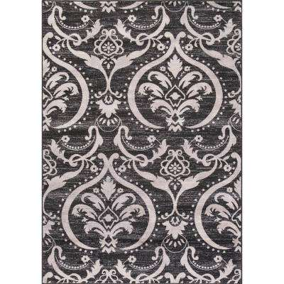 Lara Large Damask Anthracite 7 ft. 10 in. x 10 ft. 6 in. Area Rug