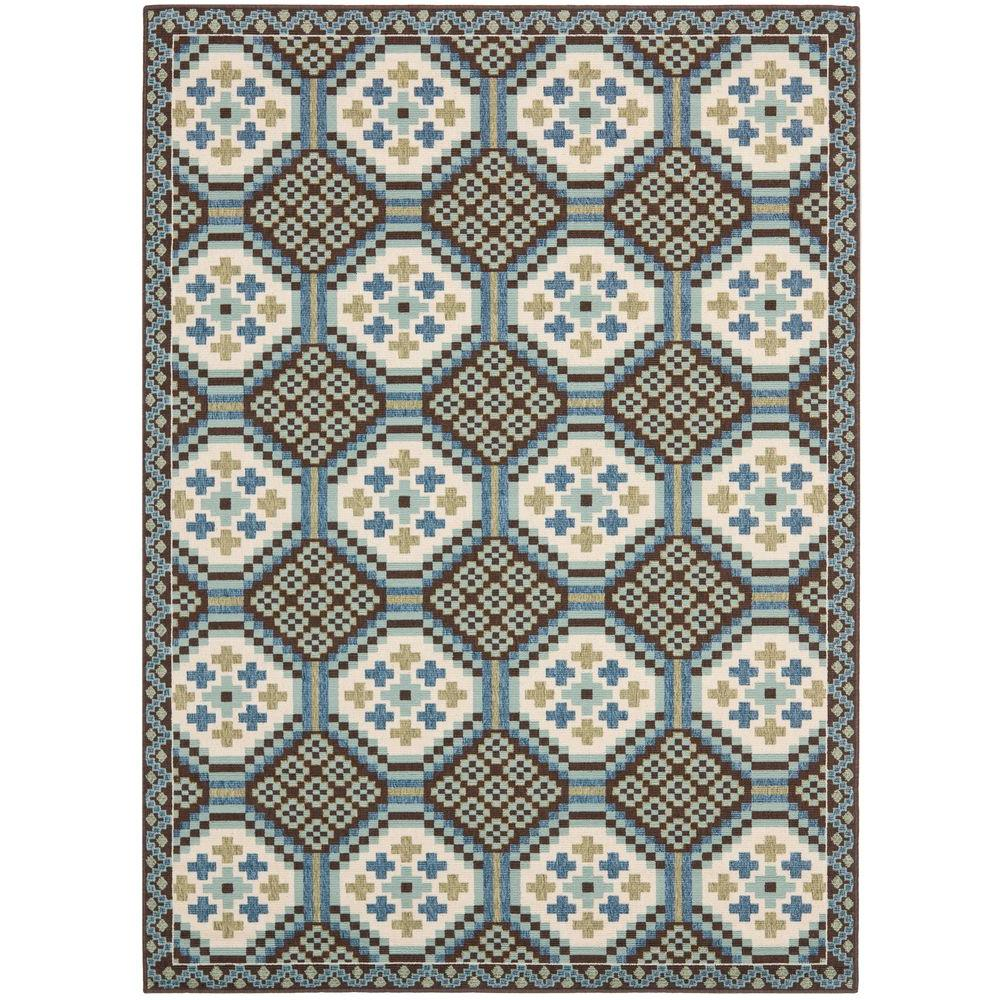Veranda Blue/Chocolate 6 ft. 7 in. x 9 ft. 6 in.