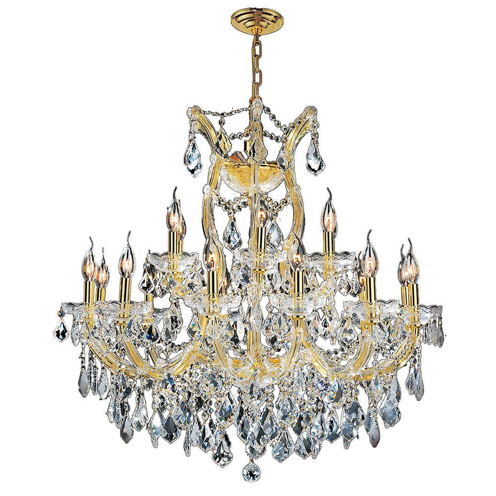 Maria Theresa 19-Light Polished Gold and Clear Crystal Chandelier